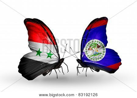Two Butterflies With Flags On Wings As Symbol Of Relations Syria And Belize
