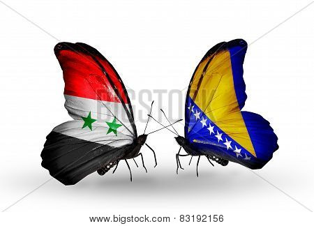 Two Butterflies With Flags On Wings As Symbol Of Relations Syria And Bosnia And Herzegovina