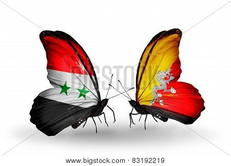 Two Butterflies With Flags On Wings As Symbol Of Relations Syria And Bhutan