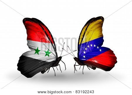 Two Butterflies With Flags On Wings As Symbol Of Relations Syria And Venezuela