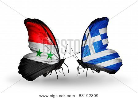 Two Butterflies With Flags On Wings As Symbol Of Relations Syria And Greece