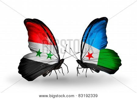 Two Butterflies With Flags On Wings As Symbol Of Relations Syria And Djibouti