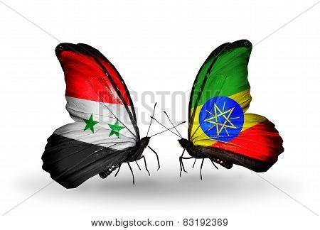 Two Butterflies With Flags On Wings As Symbol Of Relations Syria And Ethiopia