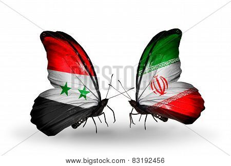 Two Butterflies With Flags On Wings As Symbol Of Relations Syria And  Iran