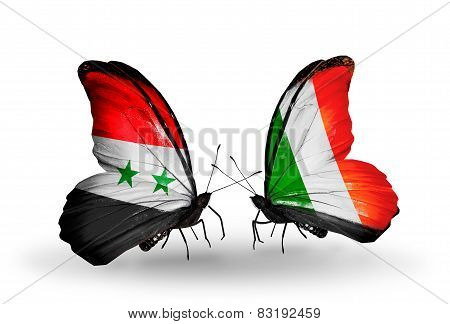 Two Butterflies With Flags On Wings As Symbol Of Relations Syria And Ireland