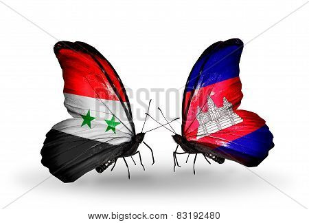 Two Butterflies With Flags On Wings As Symbol Of Relations Syria And Cambodia