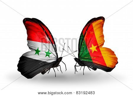 Two Butterflies With Flags On Wings As Symbol Of Relations Syria And Cameroon