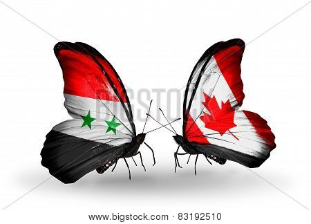 Two Butterflies With Flags On Wings As Symbol Of Relations Syria And Canada