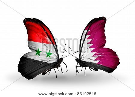 Two Butterflies With Flags On Wings As Symbol Of Relations Syria And  Qatar