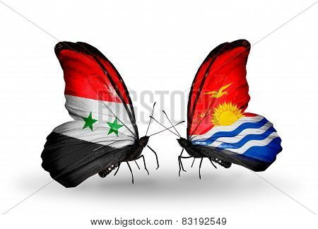 Two Butterflies With Flags On Wings As Symbol Of Relations Syria And Kiribati