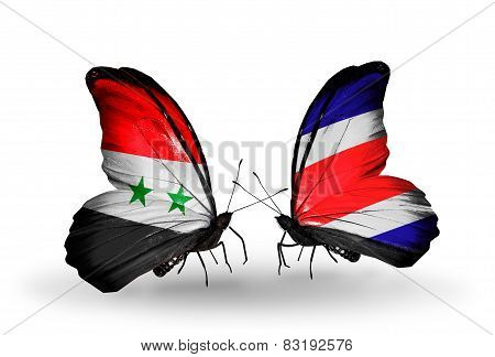 Two Butterflies With Flags On Wings As Symbol Of Relations Syria And Costa Rica