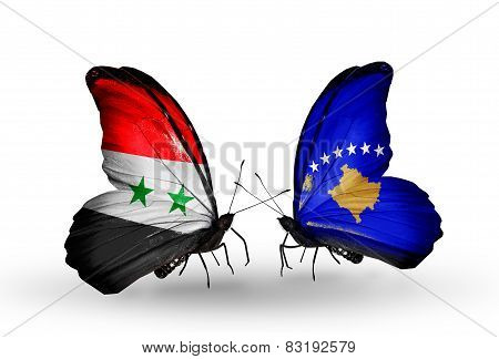 Two Butterflies With Flags On Wings As Symbol Of Relations Syria And Kosovo