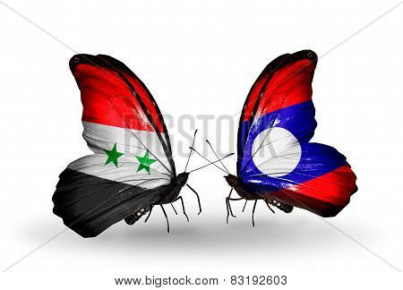 Two Butterflies With Flags On Wings As Symbol Of Relations Syria And Laos