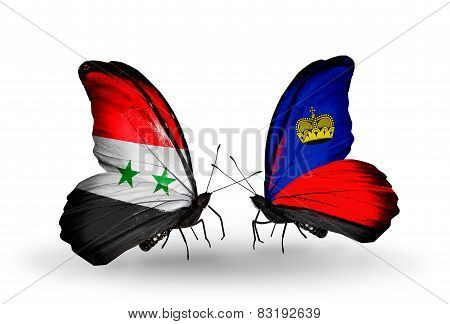 Two Butterflies With Flags On Wings As Symbol Of Relations Syria And Liechtenstein
