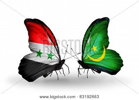 Two Butterflies With Flags On Wings As Symbol Of Relations Syria And Mauritania