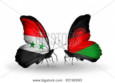 Two Butterflies With Flags On Wings As Symbol Of Relations Syria And Malawi