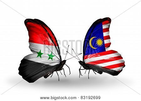 Two Butterflies With Flags On Wings As Symbol Of Relations Syria And Malaysia