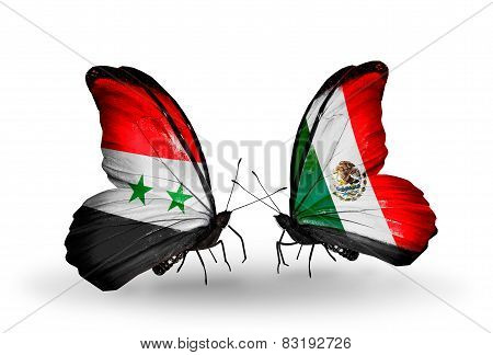 Two Butterflies With Flags On Wings As Symbol Of Relations Syria And Mexico