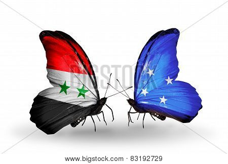 Two Butterflies With Flags On Wings As Symbol Of Relations Syria And Micronesia