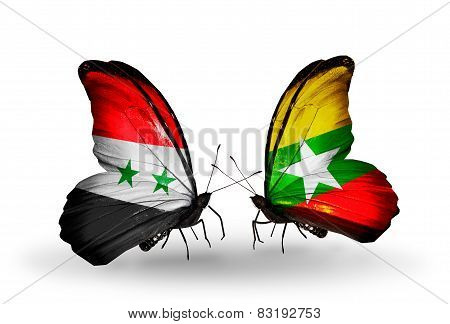 Two Butterflies With Flags On Wings As Symbol Of Relations Syria And Myanmar