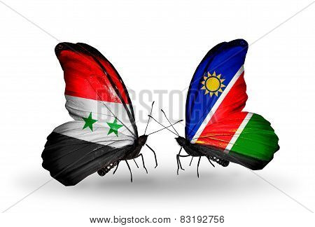 Two Butterflies With Flags On Wings As Symbol Of Relations Syria And Namibia