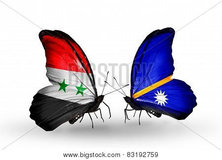 Two Butterflies With Flags On Wings As Symbol Of Relations Syria And Nauru