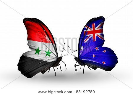 Two Butterflies With Flags On Wings As Symbol Of Relations Syria And New Zealand