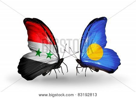 Two Butterflies With Flags On Wings As Symbol Of Relations Syria And Palau