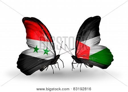 Two Butterflies With Flags On Wings As Symbol Of Relations Syria And Palestine