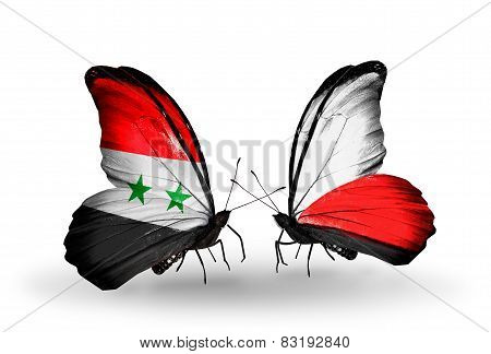 Two Butterflies With Flags On Wings As Symbol Of Relations Syria And Poland