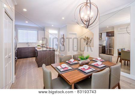 Modern dining room set for dinner