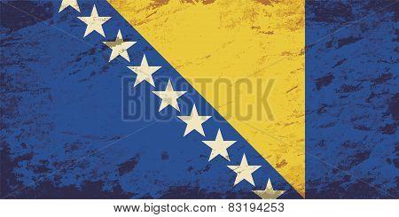Bosnia and Herzegovina flag. Grunge background. Vector illustration
