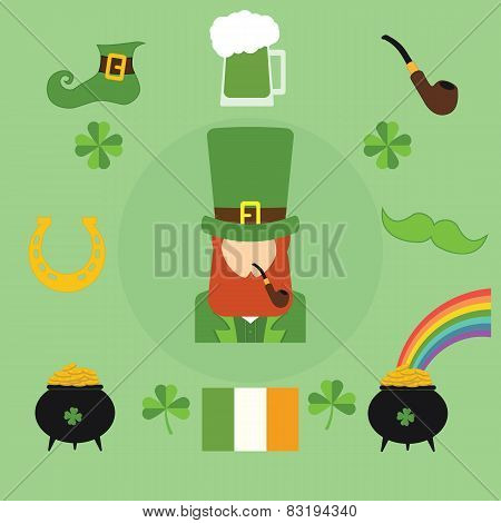 Happy St. Patrick's Day vector illustration icons. Traditional irish symbols in modern flat style. D