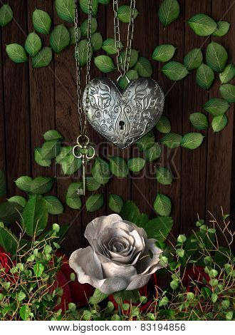 Roses and a heart with key on wooden board, conceptual holiday background