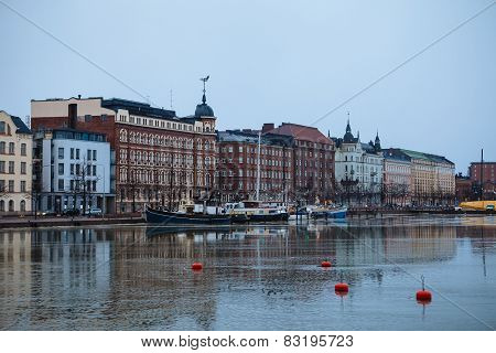 Cloudy day, the Baltic Sea and Quay Pohjoisranta in Helsinki