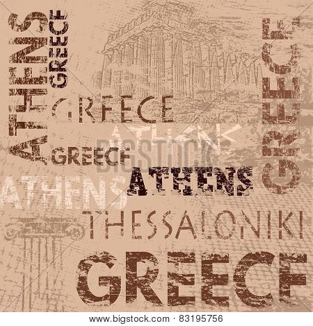 Typographic Poster Design With Greece