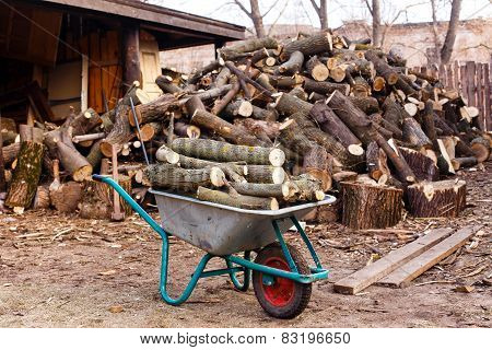 Long Wood On The Truck On The Background Of Hill Sawn Wood
