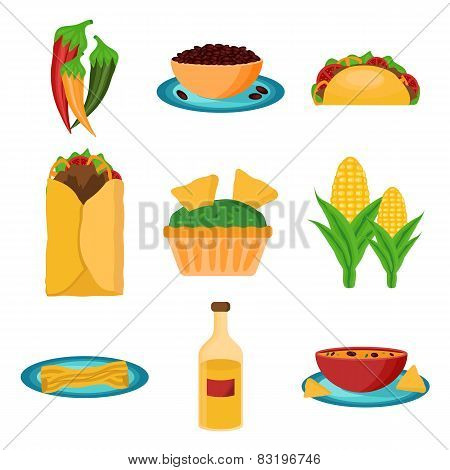 Set of cartoon mexican food