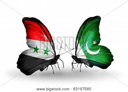 Two Butterflies With Flags On Wings As Symbol Of Relations Syria And Pakistan