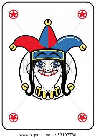 Jolly Face in a circle playing card