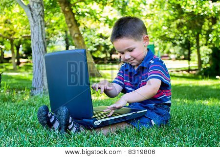 boy spending time with notebook