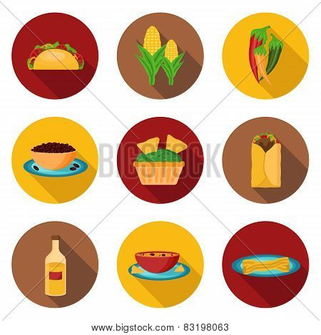 Set of mexican food icons