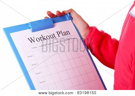 Sports trainer with personal workout plan isolated on white