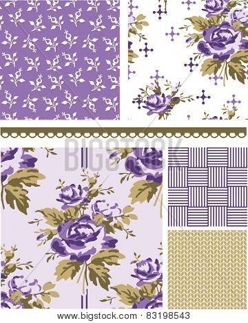 Summer Inspired Floral Seamless Vector Patterns. Use to create fills, wallpaper, digital paper or print onto fabrics to create unique items.