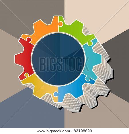Pie chart puzzle gear 3d