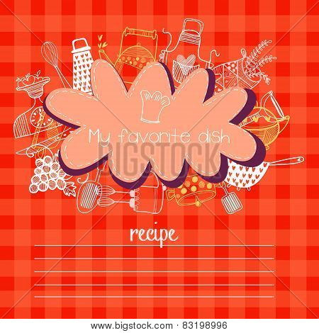 Recipes Concept Card With Kitchen Design Elements