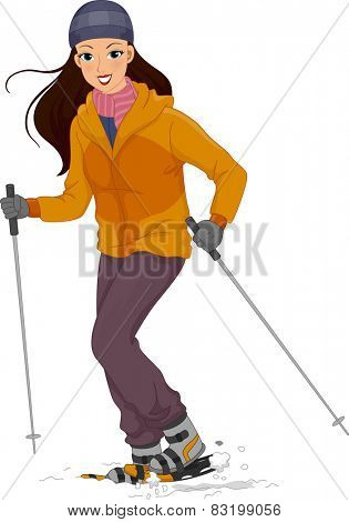 Illustration of a Girl in Thick Winter Clothing Walking on the Snow