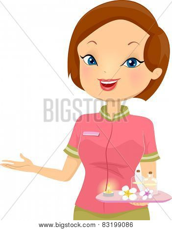 Illustration of a Female Receptionist at a Spa