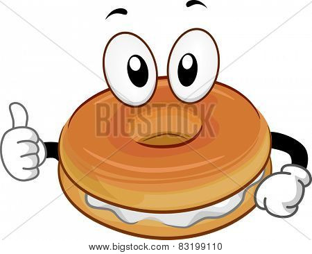 Mascot Illustration of a Bagel Giving a Thumbs Up