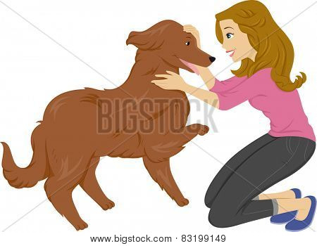 Illustration of a Woman Playing With Her Pet Dog